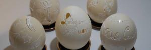 uova su piattini sfondo azzurro